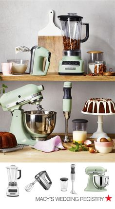 When you're choosing items for your wedding registry, think about the color scheme you'd like to have in your new kitchen together. Many brands offer kitchen essentials in an array of colors, so you can pick your favorite. We're currently obsessed with the Pistachio Matte Architect series by KitchenAid which is only at Macy's and includes the iconic stand mixer, hand mixer, blender and hand blender. Shop them all at macys.com now!