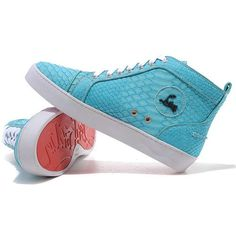 blue christian louboutin shoes   Christian Louboutin Louis Python Sneakers Blue Red Bottom Shoes,Silver ...
