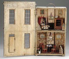 Antique find passed from generation to generation. Regency dollhouse and contents, English, circa 1810 to 1830.