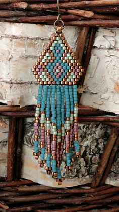 Linda's Crafty Inspirations: Native American Fringe Earrings Sample - Blue Berry & Aloe