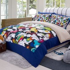 Cute Kids Twin Size Bedding Set Fashion Colorful Cloud Duvet Cover Set For Winter Queen Size