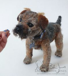 Got him to pose for the camera with a treat. ^__^ Made this near to life-size puppy for my sister's birthday. She loves him! His name is Trouble and he'. Trouble the border terrier Needle Felted Animals, Felt Animals, Knitted Animals, Irish Terrier, Needle Felting Tutorials, Felt Dogs, Wet Felting, Felt Art, Felt Ornaments
