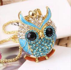 Best price on Vintage Crystal Cubic Zircon Diamond Owl Necklaces //    Price: $…