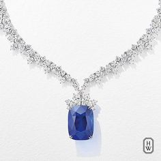 Harry Winston. More than 120 diamonds meet a 68.79-carat sapphire to create the ultimate in fine jewelry. A necklace of uncompromised distinction. #HighJewelry