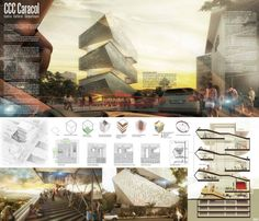 architecture architecture layout Gallery of Cultural Center in Architecture Design, Architecture Panel, Architecture Graphics, Concept Architecture, Cultural Architecture, Architecture Portfolio Layout, Drawing Architecture, Presentation Board Design, Architecture Presentation Board