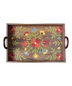 Another great find on #zulily! Floral Wooden Tray #zulilyfinds