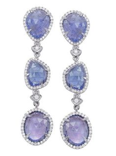 Gem Trends tanzanite slice triple drop earrings
