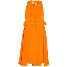 Sonia Rykiel Plissé-crepe mini dress ($640) ❤ liked on Polyvore featuring dresses, saffron, loose mini dress, loose dresses, crepe dress, loose fit dress and short orange dress