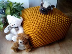 Crochet stuffed mustard/yellow ottoman / Nursery pouf / Knit pouf ottoman / Wool chair by GieMarGa on Etsy https://www.etsy.com/listing/290770835/crochet-stuffed-mustardyellow-ottoman