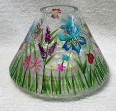 Yankee Candle CRACKLE GLASS Jar Shade clear large medium FLORAL bee bird flowers  | eBay