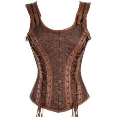 Brown Brocade Corset with Laces ❤ liked on Polyvore featuring corset and tops