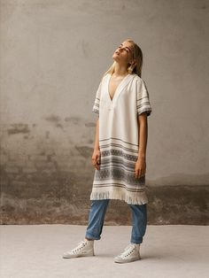 Baby denim tapered pants with dreamy towel stripe dress with fringes. Pluto - On the Moon