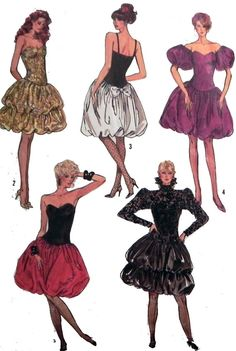 1980s Prom or Party Dress sewing pattern cocktail bubble hem gold black white red purple puff sleeves by retroactivefuture, $12.00