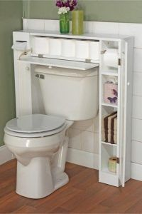 Bathroom space saver! Doors are designed in beadboard style. One paper holder, one fixed shelf and two adjustable shelves are inside each side cabinet. Pull-down door at the center.