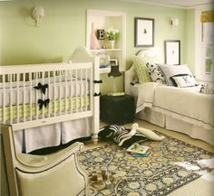 I love these greens. LOVE them. I also like the twin bed already set up in there... perfect for nap time!
