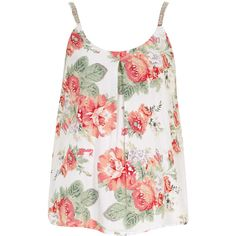 Dorothy Perkins Pink Floral Bead Strap Cami ($21) ❤ liked on Polyvore featuring tops, shirts, tank tops, tanks, multi color, rayon shirts, pink camisole, floral shirt, beaded shirts and pink shirt
