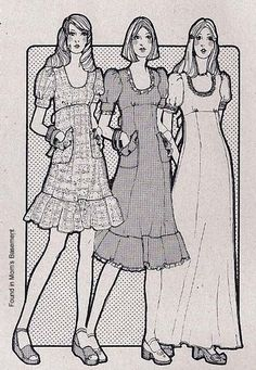 75 teen illustration: Wore the long one, with clogs, of course.