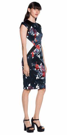 Sale  | Spliced Floral Cap Sleeve Dress
