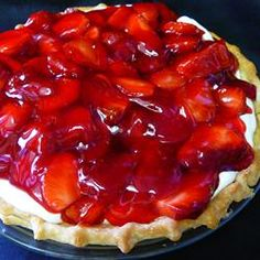 Strawberry Cream Pie To Die For Allrecipes.com  I skipped the mixing of strawberries w/glaze and just put fresh strawberries on top. Cream is Delicious! Will certainly make this one a lot more often!