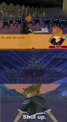 I love Roxas, but this is so true. I am still not sure how Sora realistically took on 1000 heartless alone, but why overanalyse a videogame.
