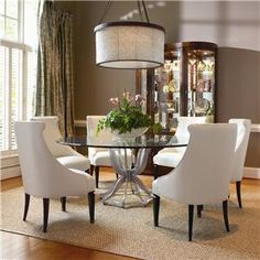 Omni Metal Base Dining Table And Upholstered Chair Set By Century   Baeru0027s  Furniture   Dining. Glass Dining Room TableDining TablesRound ...
