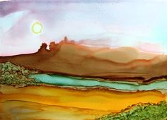 ACEO Ink Art Day Mid Morning Haze Fantasy by PaperChainsandBeads, $4.50