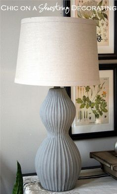 annie sloan chalk paint gourd lamp --- the lamp was orginally dark brown.  Purchased a new linen look drum shade from Walmart and good to go.