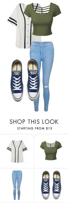 """Untitled #44"" by kbwalrus on Polyvore featuring LE3NO, New Look and Converse"