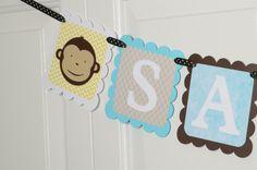 Monkey Name Banner Birthday Party Monkey Theme by lisamarDesigns