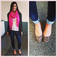 Vday outfit idea. Simple black cardi paired with cheetah flats and a little POC with a pink scarf. #CampusStyleSpotter