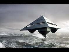 """Here's a look at the crazy HYSWAS Tetrahedron Super Yacht concept by designer Jonathan Schwinge and Eyelevel UK. With a pyramid-like design that helps with stability and a """"levitating"""" mode that makes the UFO/yacht look like it's flying Yacht Design, Boat Design, Super Yachts, Alien Spaceship, Spaceship Design, Yacht Boat, Luxury Yachts, Luxury Boats, Battleship"""