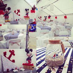 Sailor mickey theme party Sailor Birthday, Sailor Party, Mickey Mouse 1st Birthday, Mickey Party, Nautical Birthday Cakes, Boys 1st Birthday Party Ideas, 1st Boy Birthday, Nautical Mickey, Nautical Party