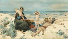 Virginie Demont-Breton (French, Mother and children at the beach. Watercolor on thick paper, signed and dated 1885 Amber Tree, Art For Art Sake, Mother And Child, Auction, Portrait, Beach Paintings, Beach Watercolor, Baba, French