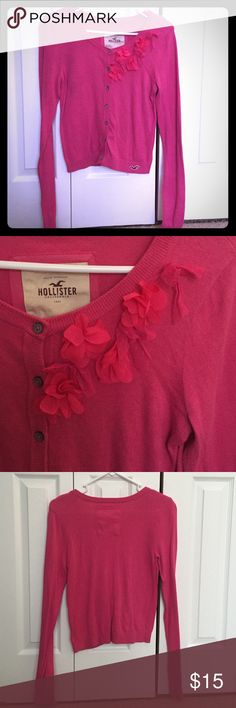 Hollister Pink Cardigan with Flower Embellishes Pink cardigan with flower embellishments. Very cute for work or over a dress! Hollister Sweaters Cardigans