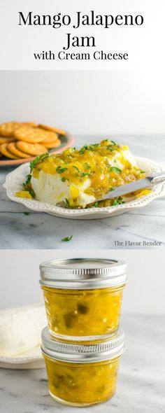 Mango Jalapeno Jam - A versatile sauce you can make and store in your kitchen for anything! Make a Mango Jalapeno Cream Cheese dip by mixing it with spreadable cream cheese! Have it in your sandwiches, or with crackers, or with your cheese plate. The choices are endless.