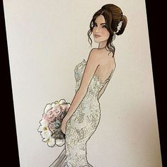 Norma revisited- ❤️ @dearnorma  Bride wears @leahdagloria #revisit #realbride #beautifulbrides #bridalillustration  For Illustration enquiry- please contact- karenorrillustration@gmail.com