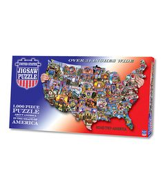 This Road Trip America USA-Shaped Puzzle by TDC Games is perfect! #zulilyfinds