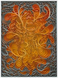 Solar Flare Sculpted canvas and acrylic paint Artists: Jason Hallman + St. Quilled Paper Art, Paper Quilling Designs, Quilling Paper Craft, Quilling Patterns, Kirigami, Atelier Theme, Paper Artwork, Paper Artist, Amazing Art