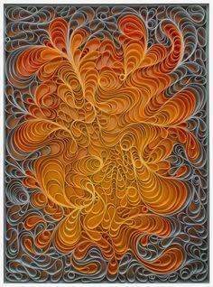"Solar Flare 36x48"" Sculpted canvas and acrylic paint Artists: Jason Hallman + Stephen Stum Stallmanstudio.com"