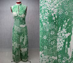 1970 Green White Floral Maxi Dress with Gold by PatternVintageLondon