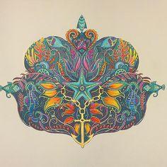Royal fish and golden anchors #lostocean #lostoceancoloringbook #johannabasford #adultcoloring
