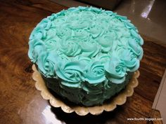 For my brother's birthday.Rose cake in Teal (Chef Masters Coloring Gel). Birthday Roses, Birthday Cake, Victoria Sandwich Cake, Buttercream Icing, Pretty Roses, Chiffon Cake, Rose Cake, Pastries, Masters