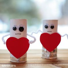 Make these charming heart robots with paper roll. Kids will love this easy Valentine craft.