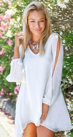 White chiffon mini dress