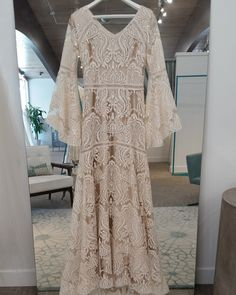 Modest wedding dress with bell sleeves from alta moda. -- boho modest wedding dress