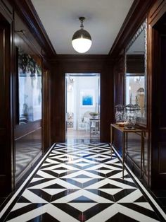 Marble patterned tile flooring