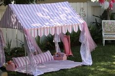 Super cute reading tent for the backyard.  Little girls would adore this!!
