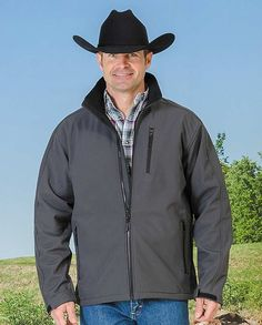 "Men's Gray and Black Water and Wind Resistant Bonded Soft Shell Jacket ""gifts for cowboys"" ""gifts for men"" drysdales.com western menswear for cowboys warm comfortable outerwear fall winter cold weather outdoors snow rain sleet wind rancher ranchwear rugged coat jacket"