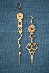 Clock Hands Earrings - don't visit the site, just use the image as a guide