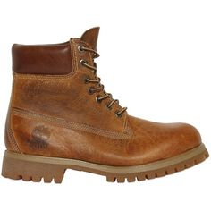 Timberland Men Heritage 6-inch Washed Leather Boots ($320) ❤ liked on Polyvore featuring men's fashion, men's shoes, men's boots, washed brown, mens waterproof leather boots, mens brown shoes, timberland mens boots, mens leather boots and timberland mens shoes
